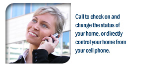 Call to check on and change the status of your home, or directly control your home from your cell phone